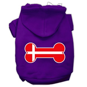 Bone Shaped Denmark Flag Screen Print Pet Hoodies Purple Size S (10)